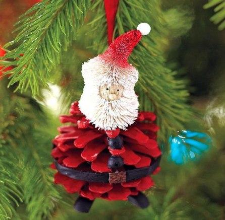 handmade-christmas-tree-ornaments-pinecone-red-santa-craft